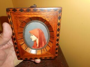 Fine miniature antique signed lady in red painting in great vintage inlay frame $210.00
