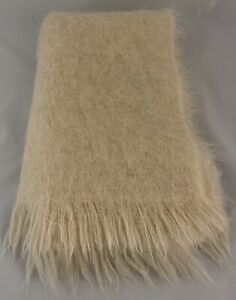 Vintage Jaeger Mohair Cream Scarf Fringed Shawl 76�x 24� Great Britain $49.95
