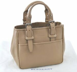 Authentic BURBERRY Leather Hand Bag Beige E2777 $280.00