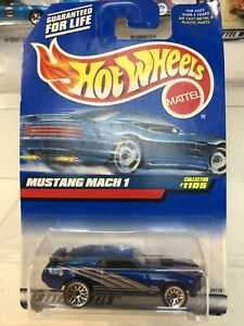 1998 Vintage Hot Wheels Collector #1105 MUSTANG MACH 1 Blue w Chrome 1:64 $11.95