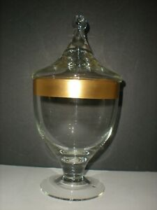 Antique Apothecary Urn Jar Gold Rim Clear Glass Candy Container Very Tall 9quot; Vtg $59.92