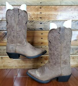 Justin Mckayla L2561 Brown Leather Pull On Cowboy Western Womens Boots Sz 8B