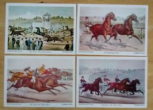 Day At The Races Set of 4 Vintage Currier amp; Ives Horse Lithographs Prints $13.00