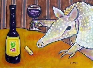 ARMADILLO WINE art print animal artist jay schmetz 8x10 $18.99