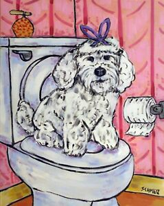Maltese bathroom picture dog art print animal artist reproduction 8x10 $18.95