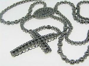 Mens Black Gold Finish Rosary Diamond Chain Necklace 4C