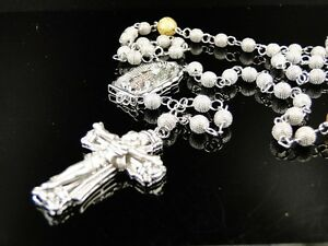 Mens 2 Tone Beaded 12 Mm White Yellow Gold Finish Diamond Rosary Necklace 3 Ct