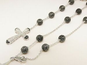 Mens White Gold Finish Black Diamond Pave Rosary Necklace 12.5 Ct