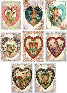 Vintage antique heart Valentine small note tags cards scrapbooking crafts set 8