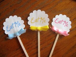 Party pastel cupcake food topper eat me 10 glossy 2