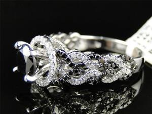 Womens Ladies White Gold Black Diamond Solitaire Engagement Ring Set 2.5 Ct