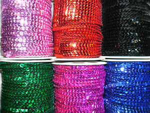 STUNNING SEQUINS TRIM 6MM WIDE X 5 MTRS VARIOUS COLOURS FOR ART CRAFTS ETC GBP 3.99