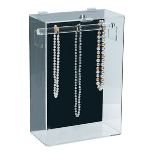 ACRYLIC NECKLACE COUNTERTOP DISPLAY CASE TOWER LOCKING NECKLACE STAND CASE 15