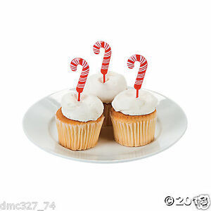 72 CHRISTMAS Party Food Cupcake Hors DOeuvers Plastic CANDY CANE PICKS