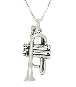 STERLING SILVER FRENCH TRUMPET INSTRUMENT CHARM WITH BOX CHAIN NECKLACE