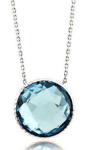 14K White Gold Designer Gemstone Necklace With A Blue Topaz Solitaire 16 Inches