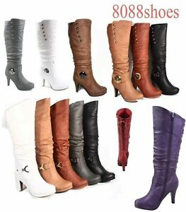 Womens Round Toe High Heel Platform Mid Calf Knee High Boots Shoes Size 5 11 $25.49