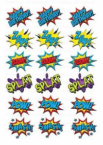 18 icing cupcake cake toppers decorations edible Superhero action pow words zap