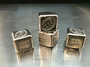 1 oz Hand Poured 999 Silver Bullion Bar Cube by YPS Yeager's Poured Silver