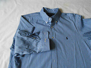 17-3233 Ralph LaurenClassic FitMen's ShirtBlue with white stripes Dry Clean