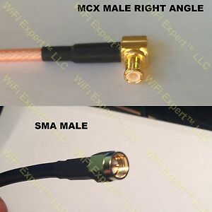 USA-CA RG316 DS MCX MALE ANGLE to SMA MALE Coaxial RF Pigtail Cable