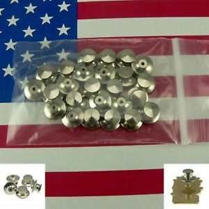 25 Chrome Deluxe Locking Low Profile Pin Backs Clasp for Sports Club School Pins $12.93