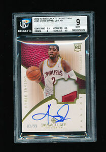 BGS 9 KYRIE IRVING 2012-13 PANINI IMMACULATE AUTO RC PATCH JERSEY NUMBER #D 299