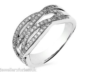18Carat White Gold Vintage Diamond Wave Style Dress Ring 0.38carats GSI1