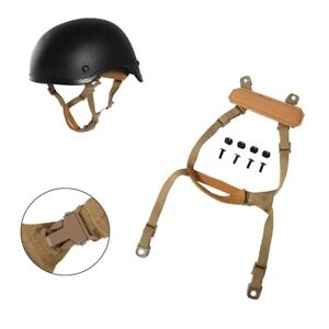 Tactical MICH Helmet Retention System H-Nape Chin Strap For Airsoft Hunting Tan