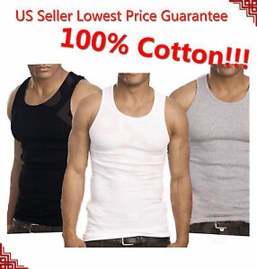 3 12 Packs Mens 100% Cotton Tank Top A Shirt Undershirt Ribbed Black White Gray $8.88