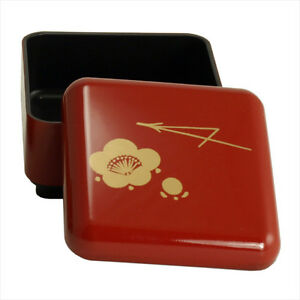 Japanese Mini Bento Box Lunch Container Rice Fruit Red Lacquer Ume Made in Japan