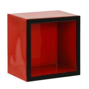 2 PCS. Japanese Sake Cup Masu 2.25quot; Square x 1 5 8quot;H Red Lacquered Made in Japan
