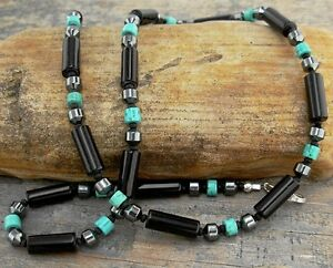 Mens Black Onyx Necklace with Hematite and Turquoise Accents Small to X-Large