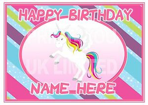 ND2 girls unicorn birthday personalised A4 cake topper icing sheet