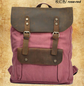 2015 Vintage Military Canvas Leather Women's Backpack School Bag Hiking Backpack