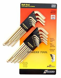 Bondhus 22pc GoldGuard Ball End Hex L Wrench Set Metric SAE Inch USA MADE 20899