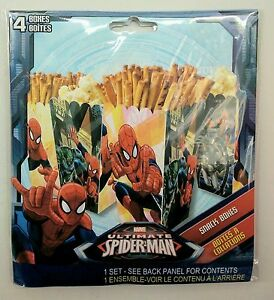 ***NEW Spider Man Snack Boxes Party Favor Containers Popcorn Treat 4pk***