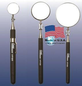 Ullman 3pc Telescoping Inspection Mirror Set Black Grip 1-2-3 in. Diameter USA