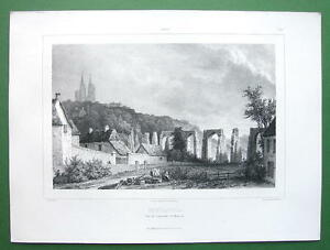 FRANCE Coutances Cathedral amp; Ruined Aqueduct Lithograph Antique Print $14.50