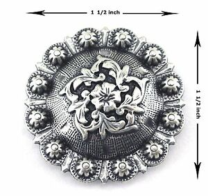 CONCHOS LOT OF 6 ANTIQUE SILVER COLOMA WESTERN BERRY LEATHER CRAFT 1 1 2 INCH