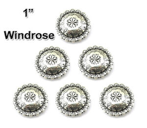 CONCHOS LOT OF 6 PCS SILVER ENGRAVED WINDROSE WESTERN LEATHER RODEO CRAFT 1 INCH
