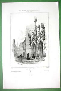 SWITZERLAND Portal of Church at Zug - SUPERB Litho Print
