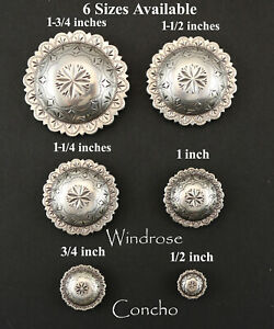 CONCHO LOT OF 6 ANTIQUE SILVER ENGRAVED WINDROSE FA 4831 WESTERN 1 2 to 1 3 4