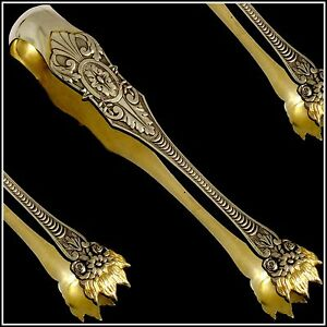Antique French Sterling Silver 18k Gold SugarIce Tongs