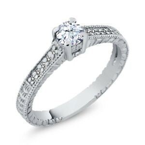 0.45 Ct Round White Topaz Diamond 925 Sterling Silver Engagement Ring