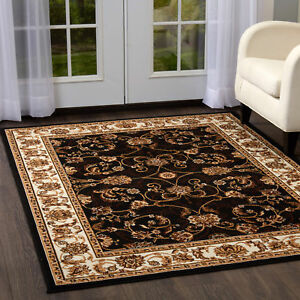 Rugs Area Rugs Carpet Flooring Persien Area Rug Brown Bordered Oriental Carpet
