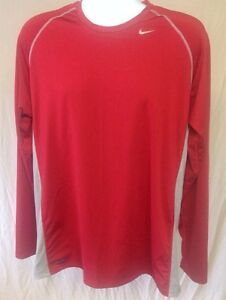 Mens Nike Fit Dry RedGray Athletic Shirt Long Sleeve Size XL. VGUC