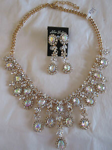 Necklace Earrings Rhinestone Cluster Gold Dangle Drops Statement Collector NWT 4