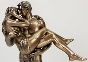 LOVERS STATUE Man Carrying Woman Male Kissing Female Statue Bronze Finish $59.95
