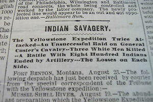 1873 NEWSPAPER GENERAL GEORGE ARMSTRONG CUSTER INDIAN WARS TONGUE RIVER